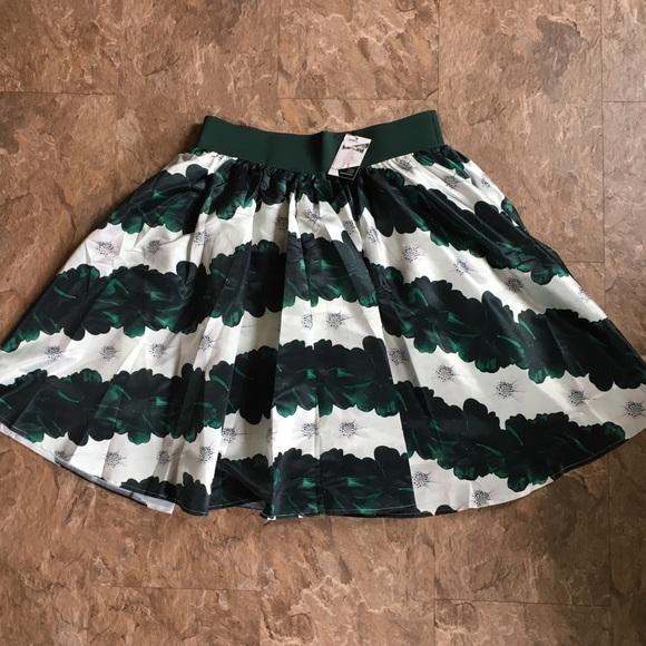 2382298c Society Plus Skirts | Society Emeraldwhite Floral Stripe Midi Skirt ...